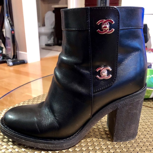 CHANEL Shoes - Chanel Black Boots 85mm w  Silver CC Turnlocks